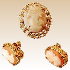 Vintage Carved Cameo Set Brooch and Unique Earrings