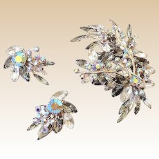 HUGE Vintage Rhinestone Brooch and Matching Earrings