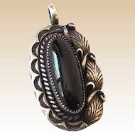 Signed Native American Pendant Sterling Silver and Onyx
