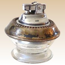 1960s Sterling Silver and Clear Glass Table Cigarette Lighter