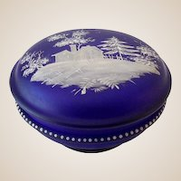 Gorgeous Satin Glass Cobalt Blue Victorian Dresser Box Powder Box