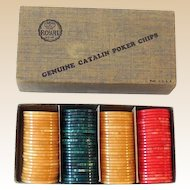 1930s Bakelite Catalin Poker Chip Set In Original Box