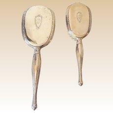 Sterling Silver Hairbrush and Vanity Handheld Mirror