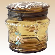 Small Hand Painted Victorian Dresser Jar Amber Glass