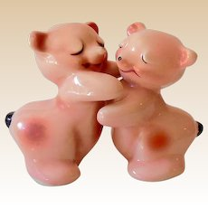 Vintage Van Tellingen Pink Bear Hugs Salt & Pepper Set