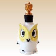 Vintage Sitzendorf Miniature Perfume Bottle Owl with Crown Top