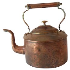 Solid Copper Tea Kettle With Hallmark Late 1800s