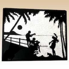 Vintage 1940s Reverse Painted Silhouette Picture Hula Girl Hawaii
