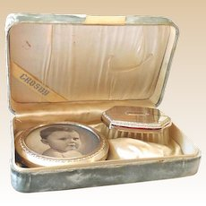 Crosby Sterling Silver Baby Brush and Picture Frame in Presentation Box