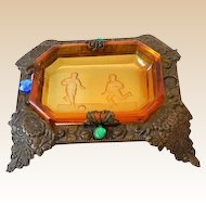 Amber Intaglio Glass Open Salt In Footed Jeweled Brass Stand