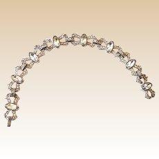 Art Deco Signed Engel Brothers Rhodium and Rhinestones Bracelet