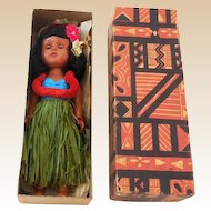 1940s-50s Hawaiian Hula Girl Walker Doll Mint in Original Box