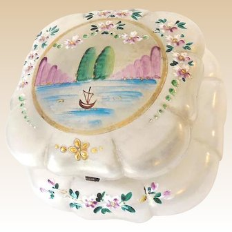 Large Hand Painted Lidded Glass Vanity Box Dresser Jar