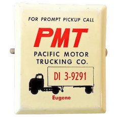 1960s Advertising Metal Paper Clip PMT Trucking Oregon