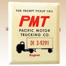 1960s Advertising Metal Paper Clip PMT Trucking Oregon