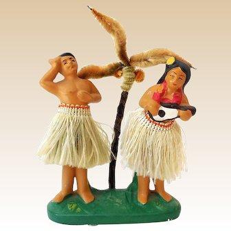 RAREST Vintage Hawaiian Hula Girl & Boy Double Nodder With Palm Tree