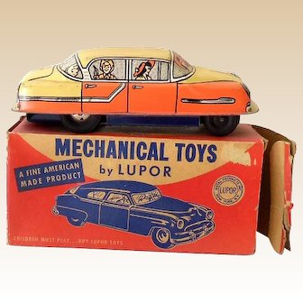 1950s Friction Motor LUPOR Tin Toy Family Sedan In Original Box