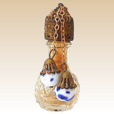 Mini Glass and Brass Perfume Bottle With Porcelain Dangle Balls