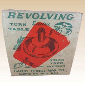 Vintage Electric Revolving Turn Table or Christmas Tree Stand, with Original Box