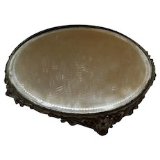 Antique 12 Inch Plateau with Pierced Metal Base and Beveled Mirror