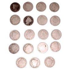 17 Circulated V Nickels 1897-1912