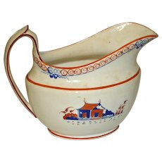 c.1820 Antique Chinoiserie Elongated Soft Paste Creamer with Enameling