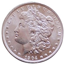 1904 O Uncirculated Morgan Silver Dollar