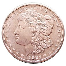 1921 S Uncirculated Morgan Silver Dollar, Last Year of Issue