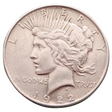 1922 Peace Dollar, Near Uncirculated, Philadelphia Mint
