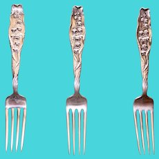 Whiting Sterling Lily of the Valley Large Dinner Fork, 7.5 Inches, 3 Available
