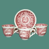 Mason's Vista Red Transferware Demitasse Cup & Saucer, Old Marks, 2 Available