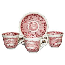 Mason's Vista Red Transferware Demitasse Cup & Saucer, Old Marks, 3 Available