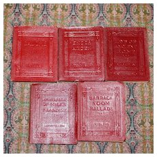"Set of 5 ""Small Red Leather Books"" by Noted Authors"