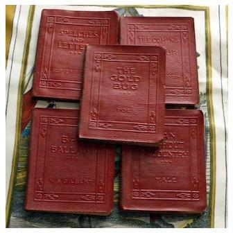 5 Miniature Books in Dark Red Leather