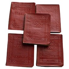 5 Miniature Books in Dark Red Leather
