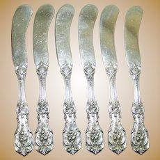 Set of 6 Francis I Sterling Butter Knives, Old Marks