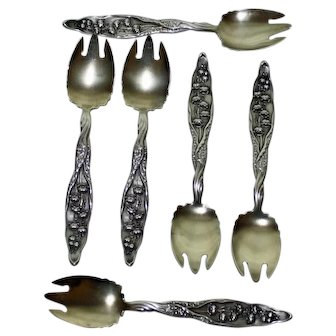 Set of 6 Original Antique Sterling Sporks (Ice Cream Forks) in Lily of the Valley Pattern by Whiting
