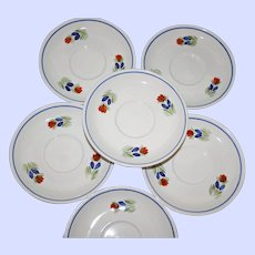 Set of 6 Vintage HB Quimper Saucers, Flower Motif