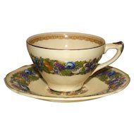 Set of 4 Vintage Crown Ducal Florentine  Cups and Saucers