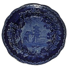 Adams c.1820 Historical Blue River Scene Transferware Plate