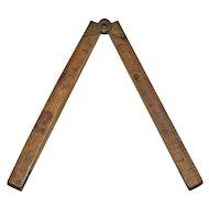 Antique Wooden Folding Rule