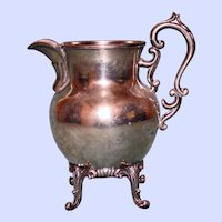 Vintage american Birmingham Silver Company Footed Silver Plate on Copper Creamer