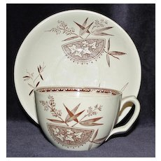 English Aesthetic Transferware Cup & Saucer by H. Alcock, c.1891