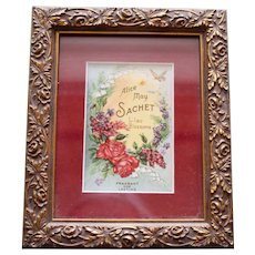 Alice May Sachet Framed Advertising Card