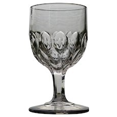 """""""Almond Thumbprint"""" Goblet, Early American Pattern Glass"""