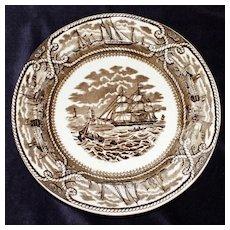 Vintage Brown Transferware Plate, American Marine