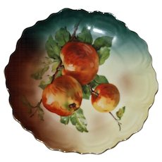 Antique Plate with Three Apples on a Branch