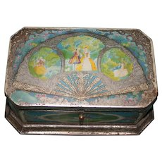 Antique Artstyle Chocolates Tin Featuring Hand Fan and Classical Couple Scenes