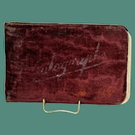 Antique Victorian Autograph Book with Wine Velvet Cover