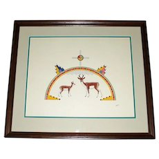 Awa Tsireh Native American Signed Framed Print of Deer and World - Outstanding Colors